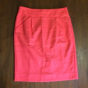 J Crew Coral Color Pencil Skirt